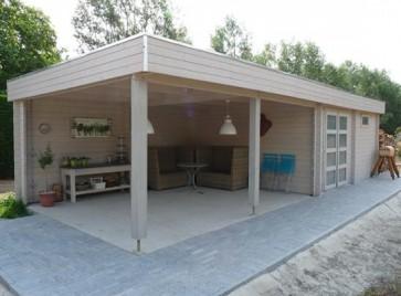 Blokhut platdak type tongeren op maat kopen - Eigentijdse houten lounge ...