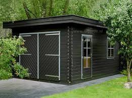 Houten garage platdak Hoenderloo