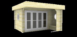 Moderne blokhut Subliem 4x4 400x400 50mm voorbeeld