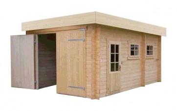 blokhut Garage 3352 Plat Dak 330x520cm 40mm voorbeeld
