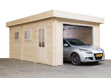 Blokhut Garage 3755 Plat Dak 375x550cm 50mm voorbeeld